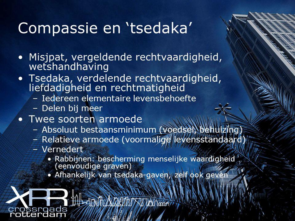 Compassie en 'tsedaka' Misjpat, vergeldende rechtvaardigheid, wetshandhaving Tsedaka, verdelende rechtvaardigheid, liefdadigheid en rechtmatigheid –Ie