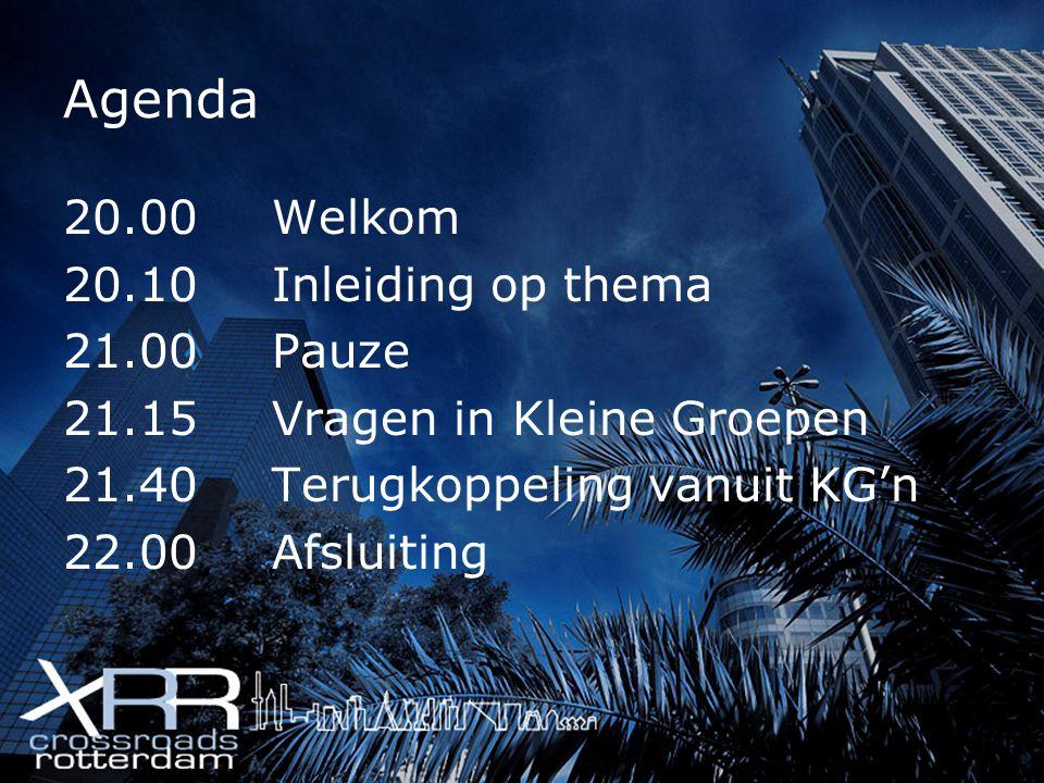 Agenda 20.00Welkom 20.10Inleiding op thema 21.00Pauze 21.15Vragen in Kleine Groepen 21.40Terugkoppeling vanuit KG'n 22.00Afsluiting