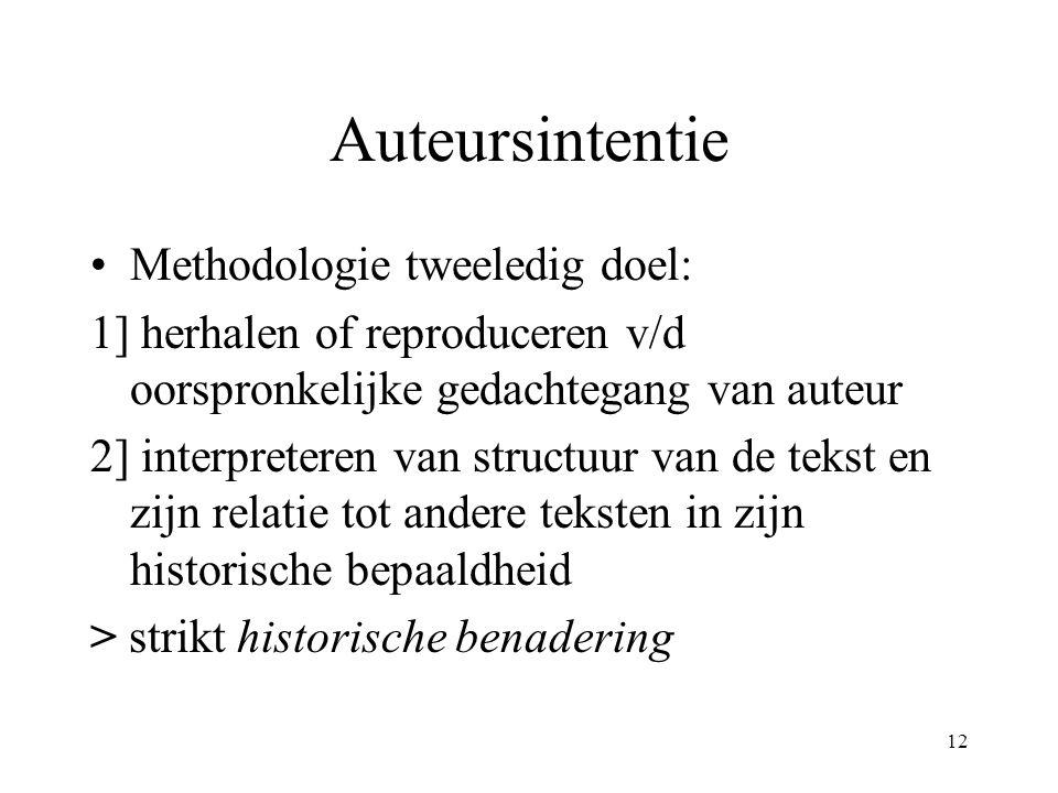 12 Auteursintentie Methodologie tweeledig doel: 1] herhalen of reproduceren v/d oorspronkelijke gedachtegang van auteur 2] interpreteren van structuur