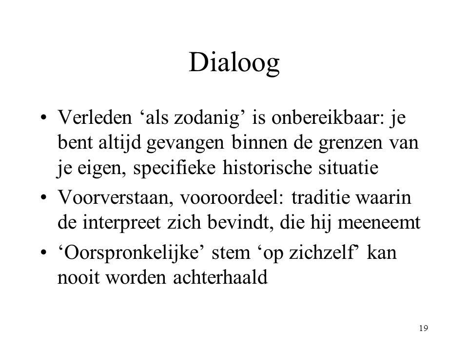 19 Dialoog Verleden 'als zodanig' is onbereikbaar: je bent altijd gevangen binnen de grenzen van je eigen, specifieke historische situatie Voorverstaa