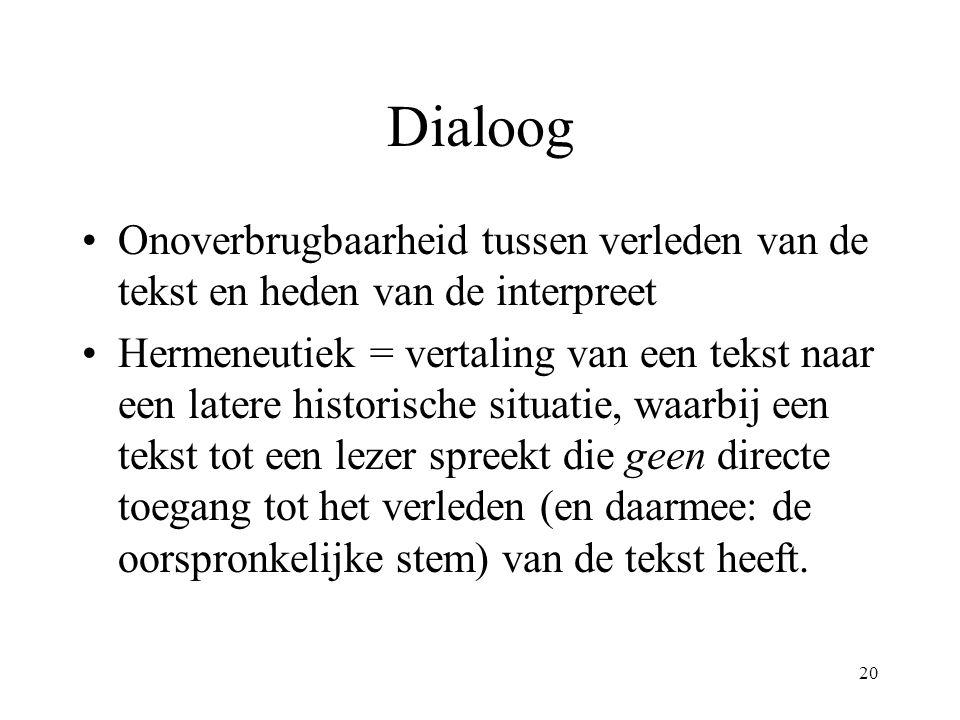 20 Dialoog Onoverbrugbaarheid tussen verleden van de tekst en heden van de interpreet Hermeneutiek = vertaling van een tekst naar een latere historisc