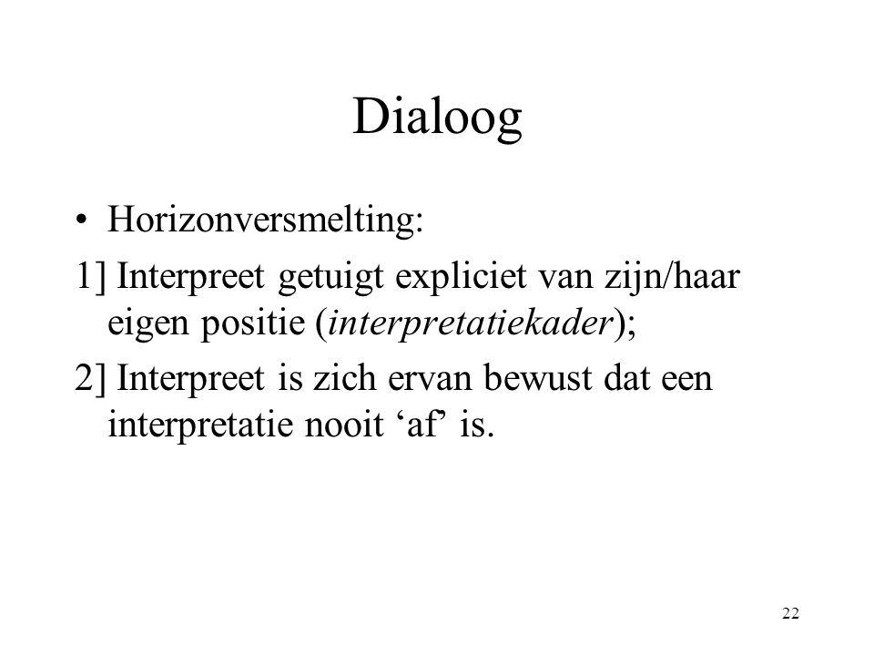 22 Dialoog Horizonversmelting: 1] Interpreet getuigt expliciet van zijn/haar eigen positie (interpretatiekader); 2] Interpreet is zich ervan bewust dat een interpretatie nooit 'af' is.