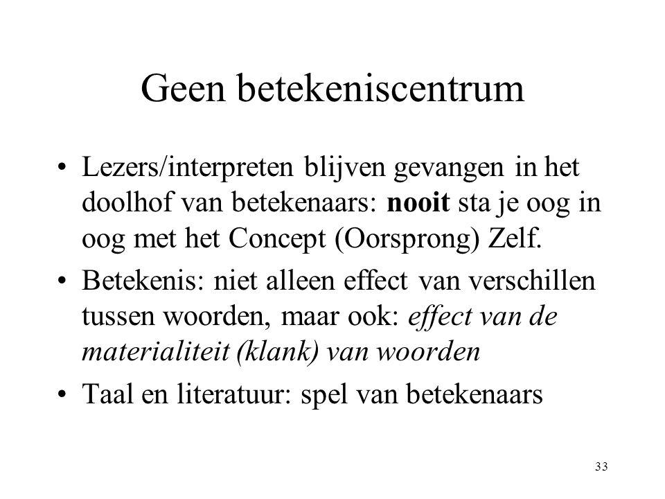 33 Geen betekeniscentrum Lezers/interpreten blijven gevangen in het doolhof van betekenaars: nooit sta je oog in oog met het Concept (Oorsprong) Zelf.