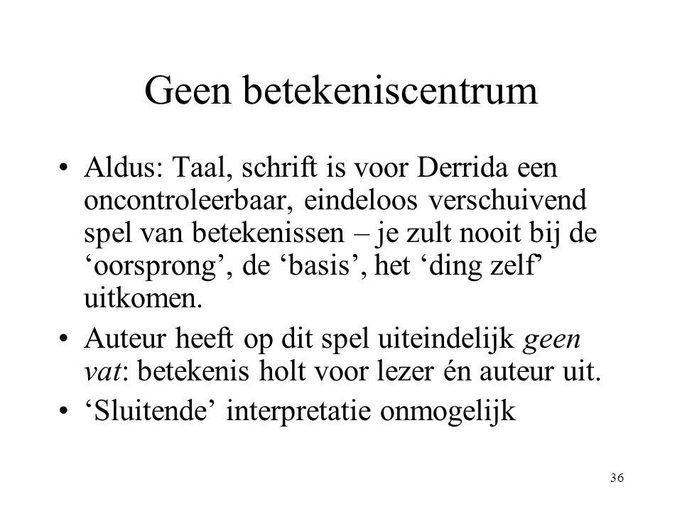 36 Geen betekeniscentrum Aldus: Taal, schrift is voor Derrida een oncontroleerbaar, eindeloos verschuivend spel van betekenissen – je zult nooit bij de 'oorsprong', de 'basis', het 'ding zelf' uitkomen.