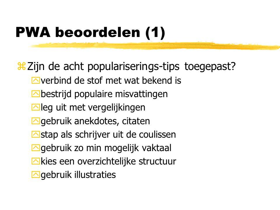 PWA beoordelen (1) zZijn de acht populariserings-tips toegepast.