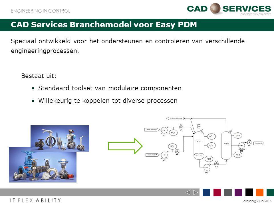 dinsdag 2 juni 2015 ENGINEERING IN CONTROL CAD Services Branchemodel voor Easy PDM Speciaal ontwikkeld voor het ondersteunen en controleren van verschillende engineeringprocessen.