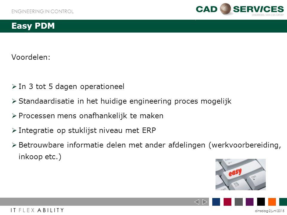dinsdag 2 juni 2015 ENGINEERING IN CONTROL Easy PDM Voordelen:  In 3 tot 5 dagen operationeel  Standaardisatie in het huidige engineering proces mogelijk  Processen mens onafhankelijk te maken  Integratie op stuklijst niveau met ERP  Betrouwbare informatie delen met ander afdelingen (werkvoorbereiding, inkoop etc.)