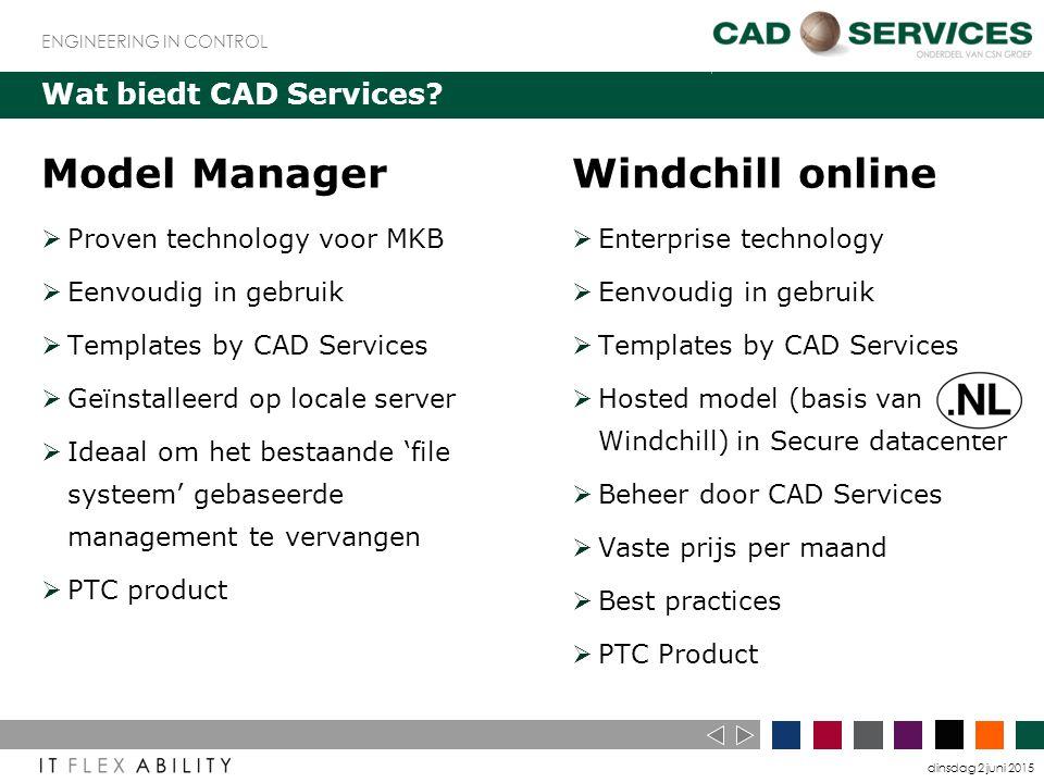 dinsdag 2 juni 2015 ENGINEERING IN CONTROL Wat biedt CAD Services.