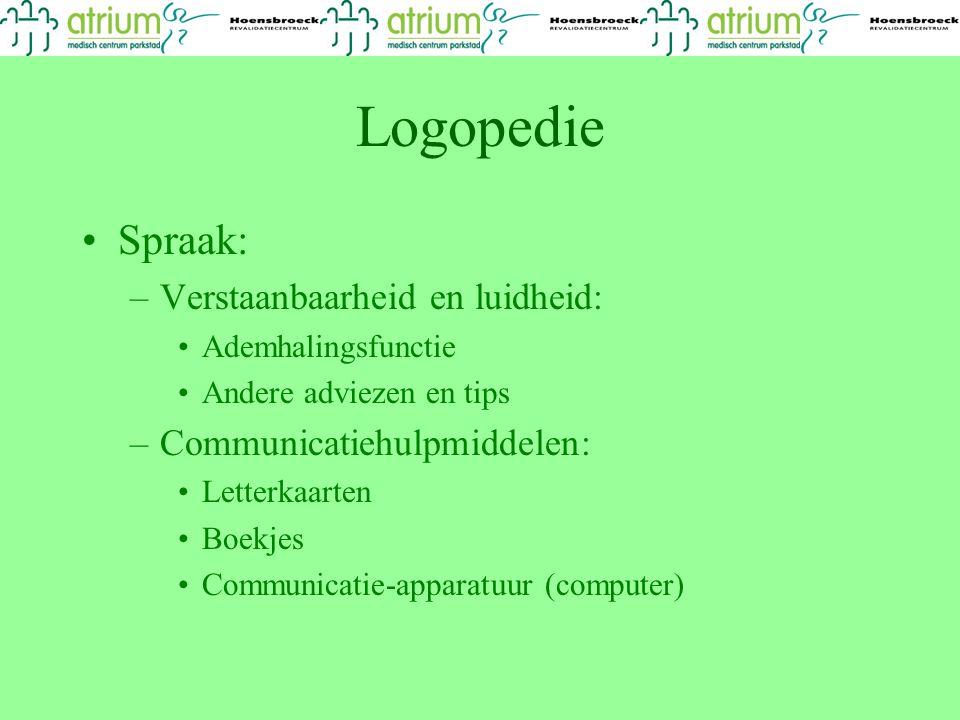 Logopedie Spraak: –Verstaanbaarheid en luidheid: Ademhalingsfunctie Andere adviezen en tips –Communicatiehulpmiddelen: Letterkaarten Boekjes Communica