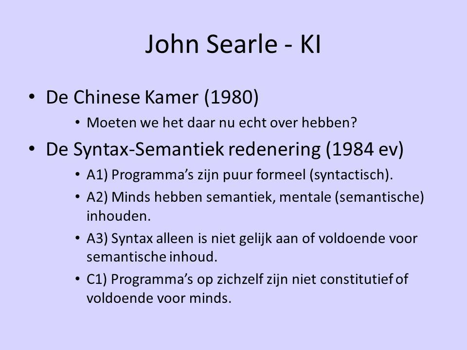 John Searle - KI De Chinese Kamer (1980) Moeten we het daar nu echt over hebben? De Syntax-Semantiek redenering (1984 ev) A1) Programma's zijn puur fo
