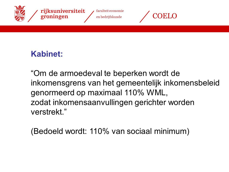 faculteit economie en bedrijfskunde COELO Kabinet: Om de armoedeval te beperken wordt de inkomensgrens van het gemeentelijk inkomensbeleid genormeerd op maximaal 110% WML, zodat inkomensaanvullingen gerichter worden verstrekt. (Bedoeld wordt: 110% van sociaal minimum)