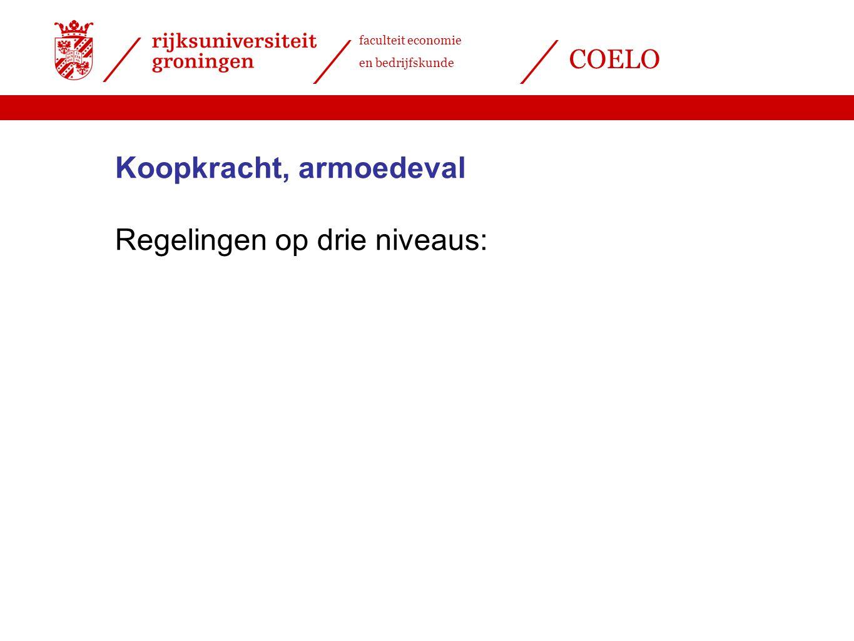 faculteit economie en bedrijfskunde COELO Koopkracht, armoedeval Regelingen op drie niveaus: