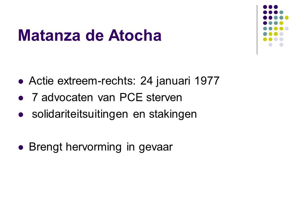 Matanza de Atocha Actie extreem-rechts: 24 januari 1977 7 advocaten van PCE sterven solidariteitsuitingen en stakingen Brengt hervorming in gevaar