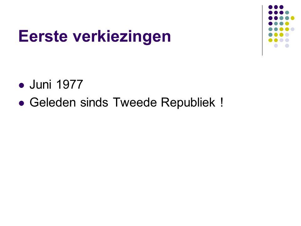 Eerste verkiezingen Juni 1977 Geleden sinds Tweede Republiek !
