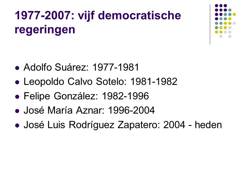 1977-2007: vijf democratische regeringen Adolfo Suárez: 1977-1981 Leopoldo Calvo Sotelo: 1981-1982 Felipe González: 1982-1996 José María Aznar: 1996-2004 José Luis Rodríguez Zapatero: 2004 - heden