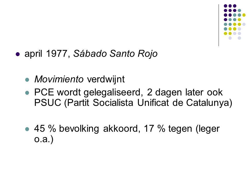 april 1977, Sábado Santo Rojo Movimiento verdwijnt PCE wordt gelegaliseerd, 2 dagen later ook PSUC (Partit Socialista Unificat de Catalunya) 45 % bevolking akkoord, 17 % tegen (leger o.a.)