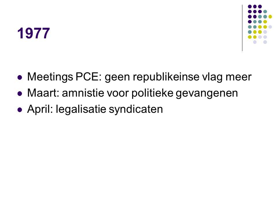 1977 Meetings PCE: geen republikeinse vlag meer Maart: amnistie voor politieke gevangenen April: legalisatie syndicaten