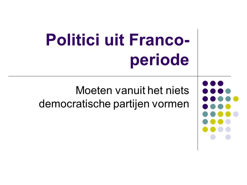 Politici uit Franco- periode Moeten vanuit het niets democratische partijen vormen