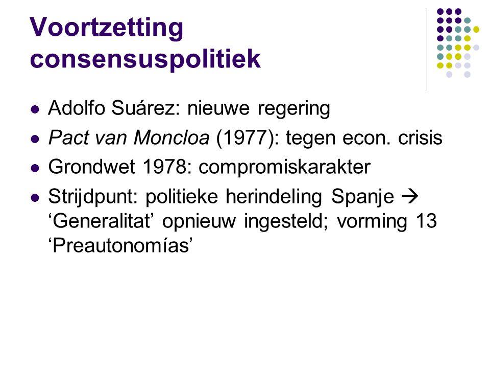 Voortzetting consensuspolitiek Adolfo Suárez: nieuwe regering Pact van Moncloa (1977): tegen econ.