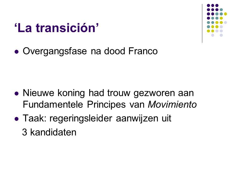 'La transición' Overgangsfase na dood Franco Nieuwe koning had trouw gezworen aan Fundamentele Principes van Movimiento Taak: regeringsleider aanwijzen uit 3 kandidaten