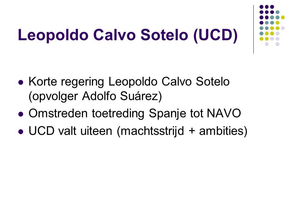 Leopoldo Calvo Sotelo (UCD) Korte regering Leopoldo Calvo Sotelo (opvolger Adolfo Suárez) Omstreden toetreding Spanje tot NAVO UCD valt uiteen (machtsstrijd + ambities)