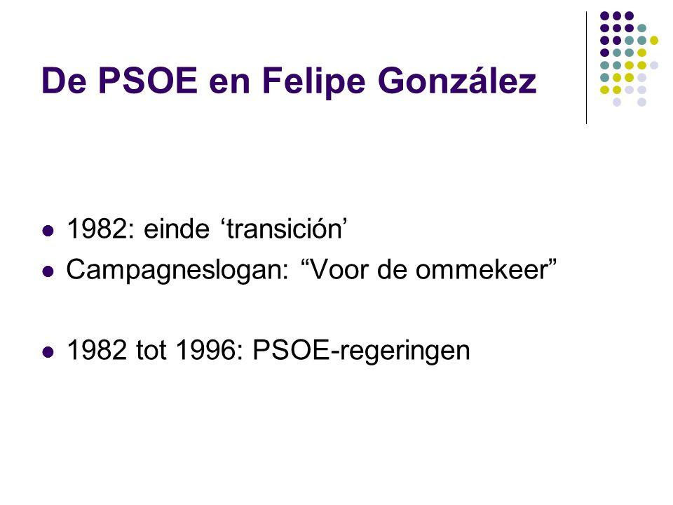 De PSOE en Felipe González 1982: einde 'transición' Campagneslogan: Voor de ommekeer 1982 tot 1996: PSOE-regeringen