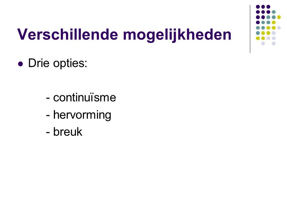 Verschillende mogelijkheden Drie opties: - continuïsme - hervorming - breuk