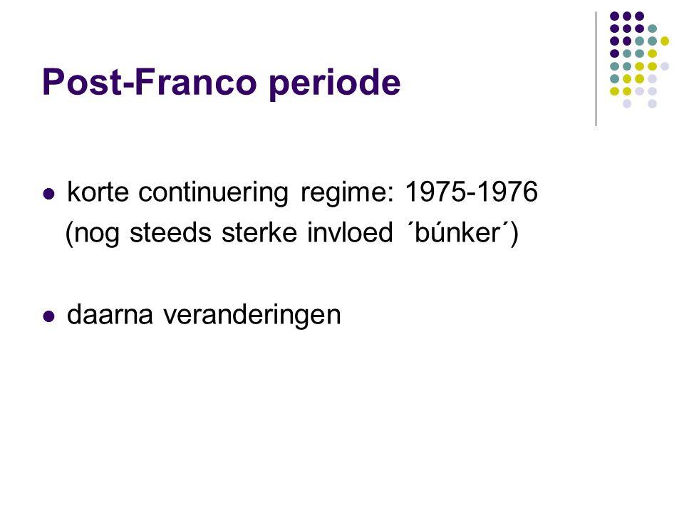 Post-Franco periode korte continuering regime: 1975-1976 (nog steeds sterke invloed ´búnker´) daarna veranderingen