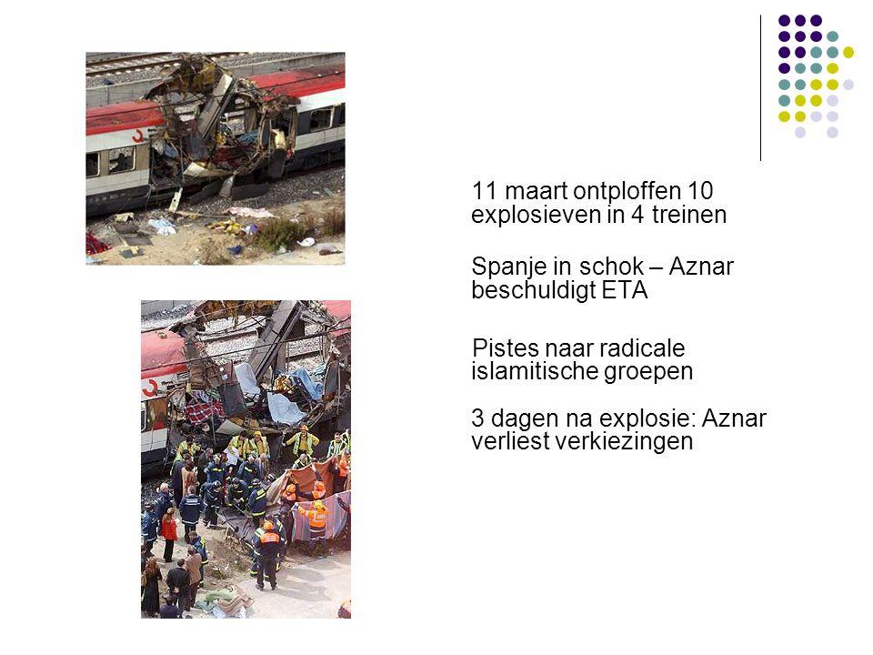 11 maart ontploffen 10 explosieven in 4 treinen Spanje in schok – Aznar beschuldigt ETA Pistes naar radicale islamitische groepen 3 dagen na explosie: Aznar verliest verkiezingen