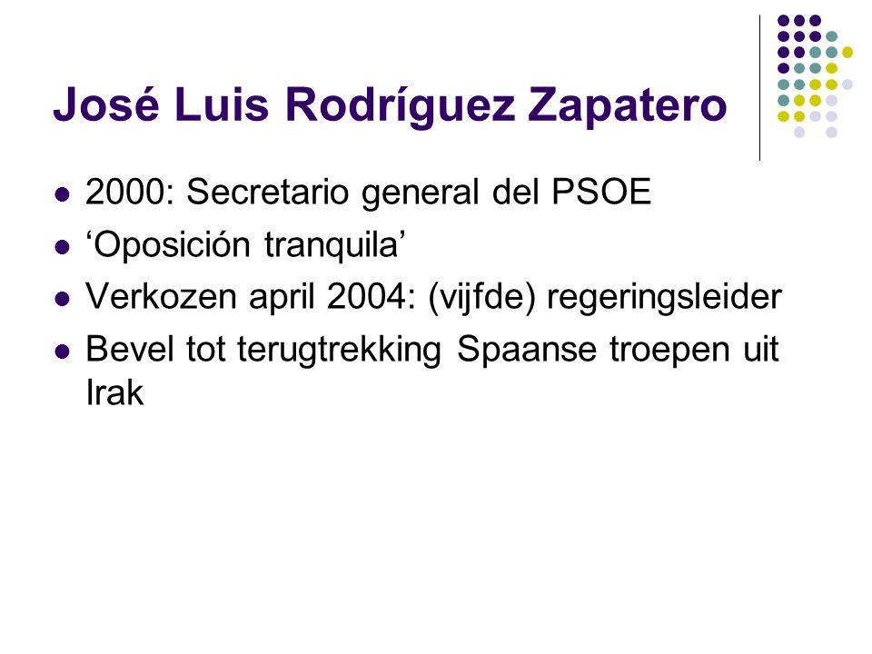 José Luis Rodríguez Zapatero 2000: Secretario general del PSOE 'Oposición tranquila' Verkozen april 2004: (vijfde) regeringsleider Bevel tot terugtrekking Spaanse troepen uit Irak
