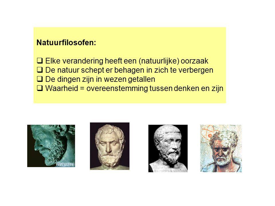 Natuurfilosofen:  Elke verandering heeft een (natuurlijke) oorzaak  De natuur schept er behagen in zich te verbergen  De dingen zijn in wezen getal