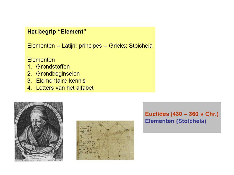 """Het begrip """"Element"""" Elementen – Latijn: principes – Grieks: Stoicheia Elementen 1.Grondstoffen 2.Grondbeginselen 3.Elementaire kennis 4.Letters van h"""