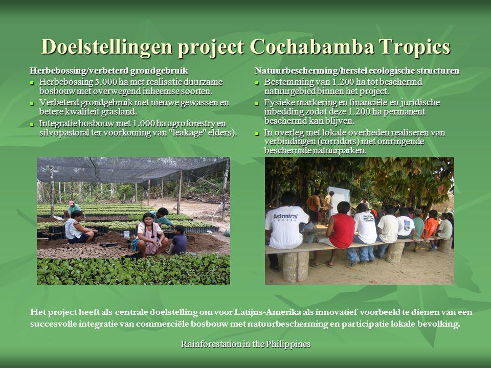 Rainforestation in the Philippines Doelstellingen project Cochabamba Tropics Herbebossing/verbeterd grondgebruik Herbebossing 5.000 ha met realisatie
