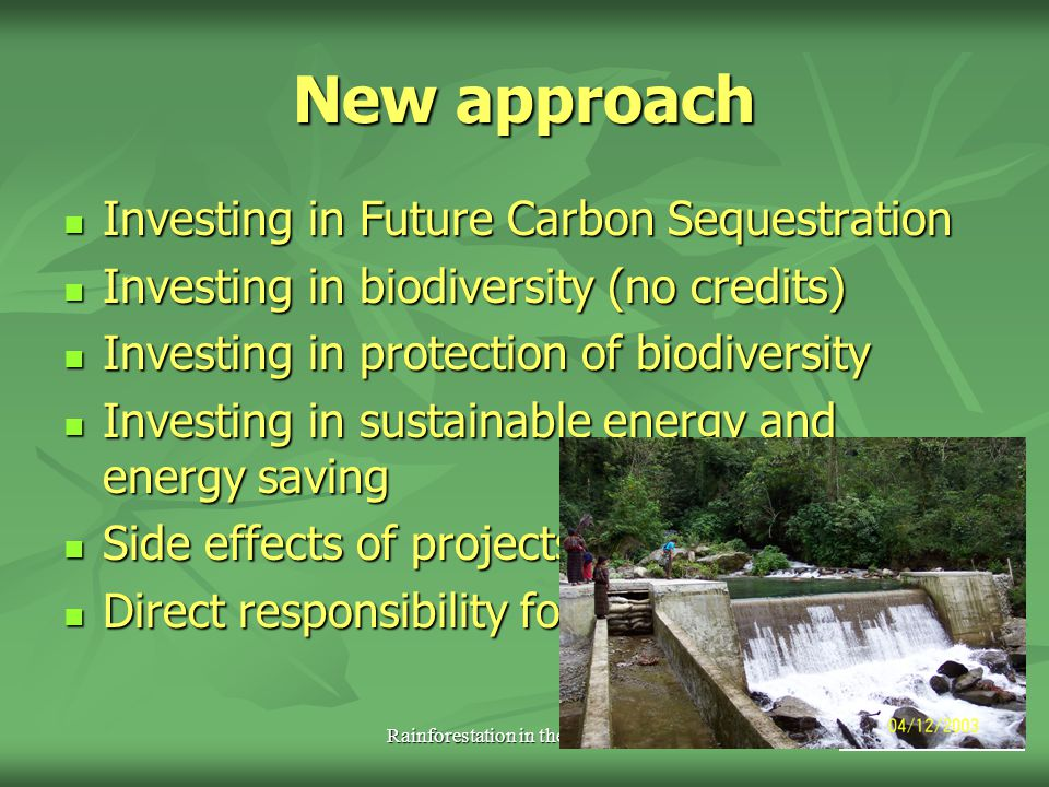 Rainforestation in the Philippines Figures 2 Rainforestation 50 ha/yr Rainforestation 50 ha/yr 300 t C/ha sequestration (planted forests) 300 t C/ha sequestration (planted forests) 2 nurseries 2 nurseries 120.000 seedlings/year 120.000 seedlings/year 2500 trees/ha 2500 trees/ha 38 indigenous species 38 indigenous species 80.000 EUR/year 80.000 EUR/year + 4.000 EUR/year (local) + 4.000 EUR/year (local)