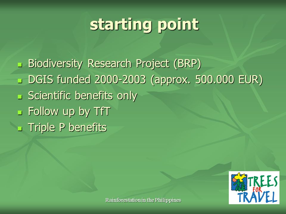 starting point Biodiversity Research Project (BRP) Biodiversity Research Project (BRP) DGIS funded 2000-2003 (approx. 500.000 EUR) DGIS funded 2000-20