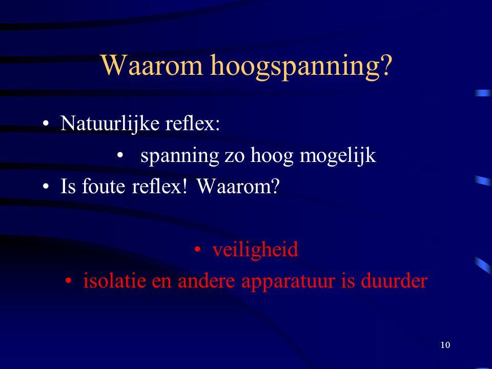 10 Waarom hoogspanning? Natuurlijke reflex: spanning zo hoog mogelijk Is foute reflex! Waarom? veiligheid isolatie en andere apparatuur is duurder
