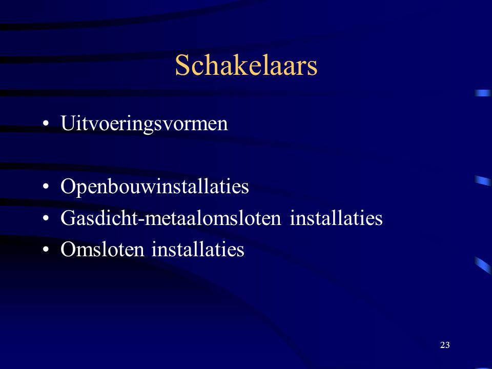 23 Schakelaars Uitvoeringsvormen Openbouwinstallaties Gasdicht-metaalomsloten installaties Omsloten installaties