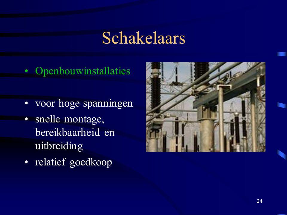 24 Schakelaars Openbouwinstallaties voor hoge spanningen snelle montage, bereikbaarheid en uitbreiding relatief goedkoop