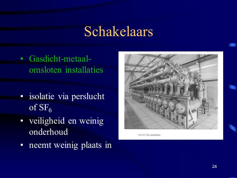 26 Schakelaars Gasdicht-metaal- omsloten installaties isolatie via perslucht of SF 6 veiligheid en weinig onderhoud neemt weinig plaats in