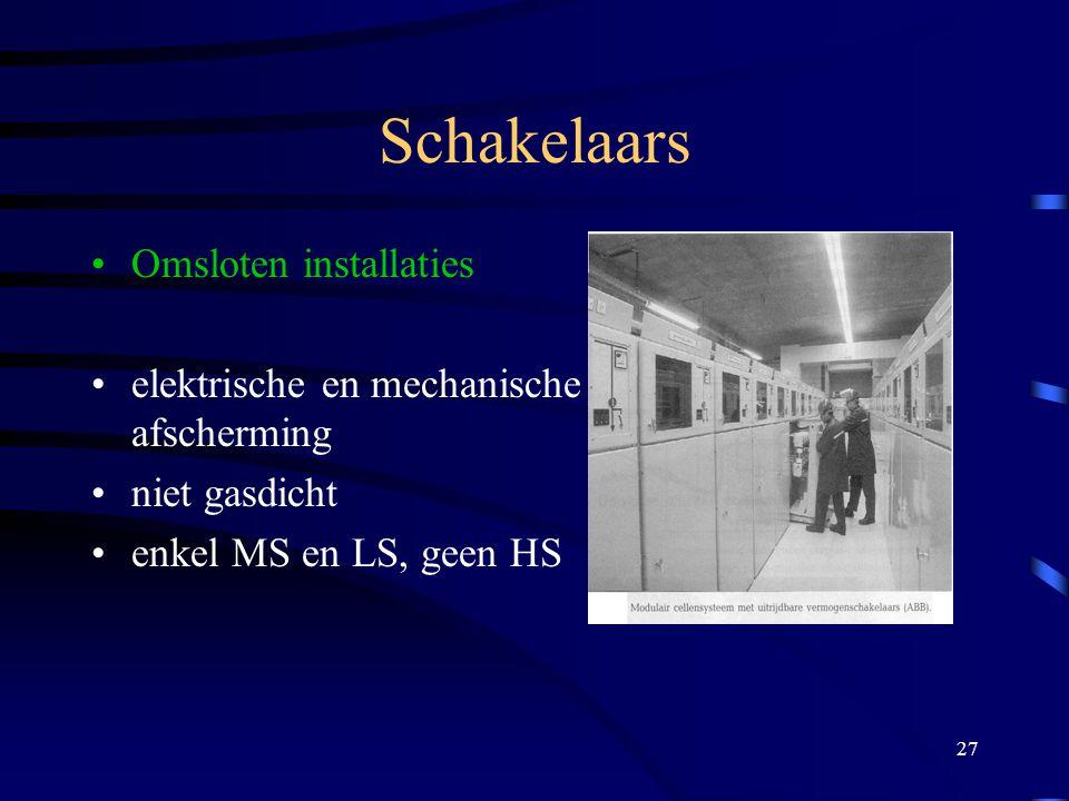 27 Schakelaars Omsloten installaties elektrische en mechanische afscherming niet gasdicht enkel MS en LS, geen HS