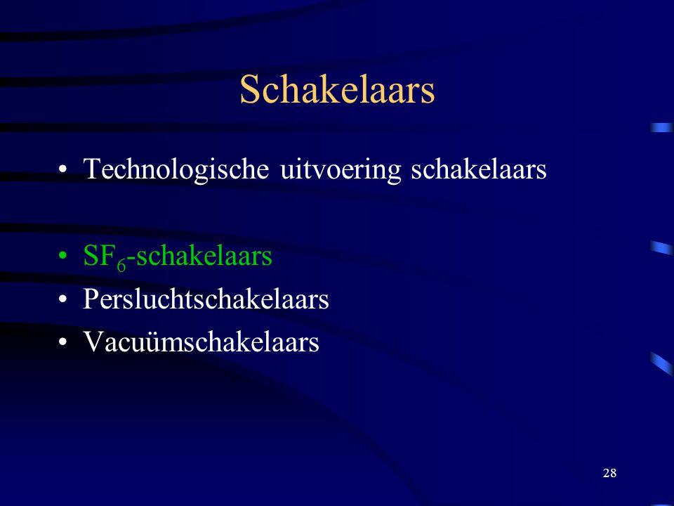 28 Schakelaars Technologische uitvoering schakelaars SF 6 -schakelaars Persluchtschakelaars Vacuümschakelaars
