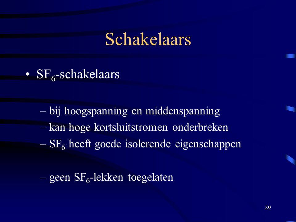 29 Schakelaars SF 6 -schakelaars –bij hoogspanning en middenspanning –kan hoge kortsluitstromen onderbreken –SF 6 heeft goede isolerende eigenschappen