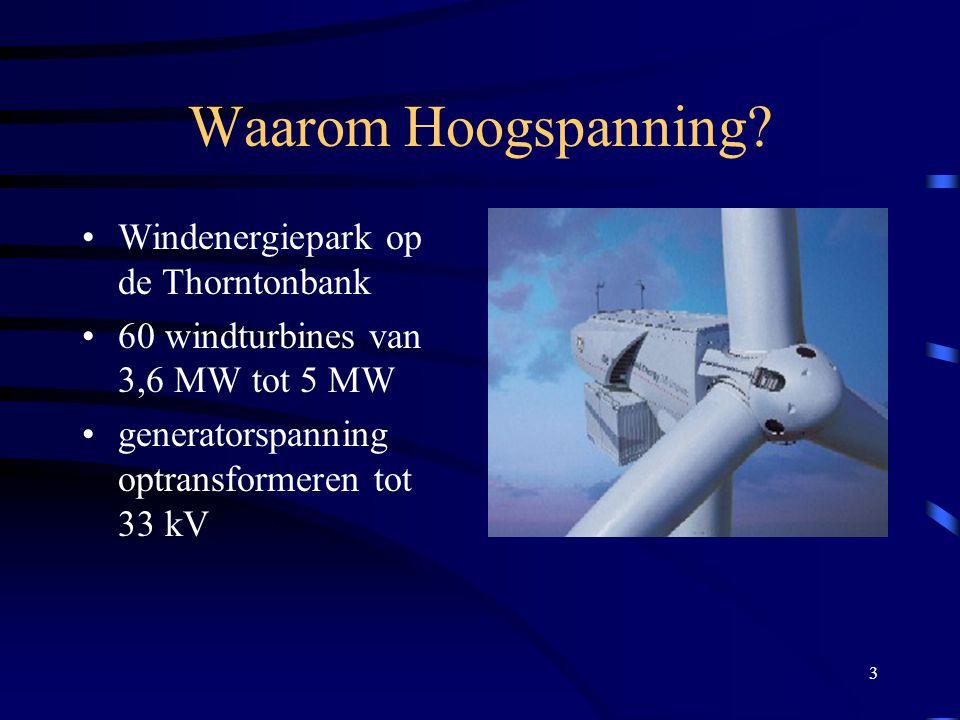 3 Waarom Hoogspanning? Windenergiepark op de Thorntonbank 60 windturbines van 3,6 MW tot 5 MW generatorspanning optransformeren tot 33 kV