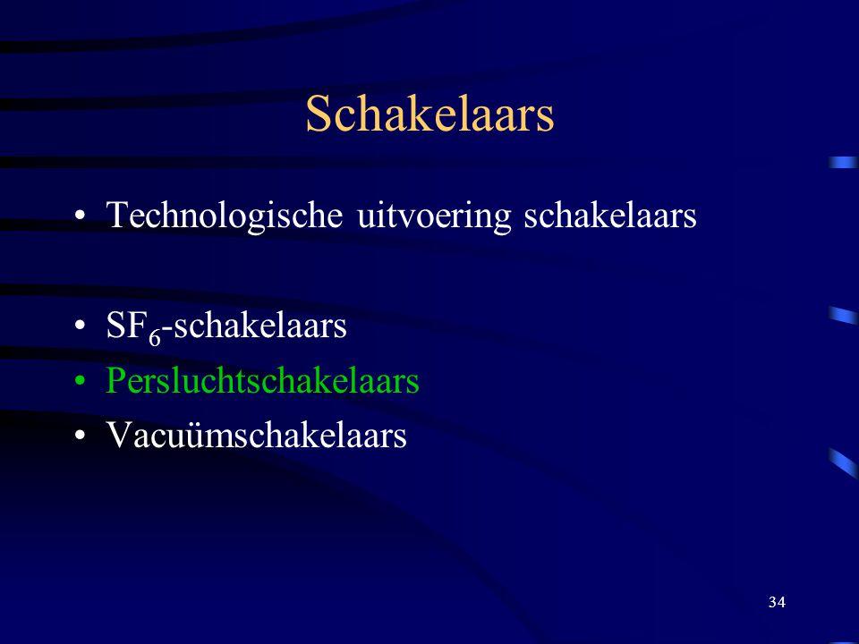 34 Schakelaars Technologische uitvoering schakelaars SF 6 -schakelaars Persluchtschakelaars Vacuümschakelaars