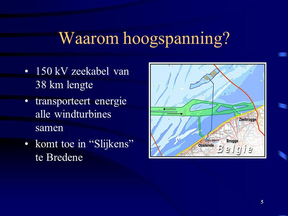 """5 Waarom hoogspanning? 150 kV zeekabel van 38 km lengte transporteert energie alle windturbines samen komt toe in """"Slijkens"""" te Bredene"""