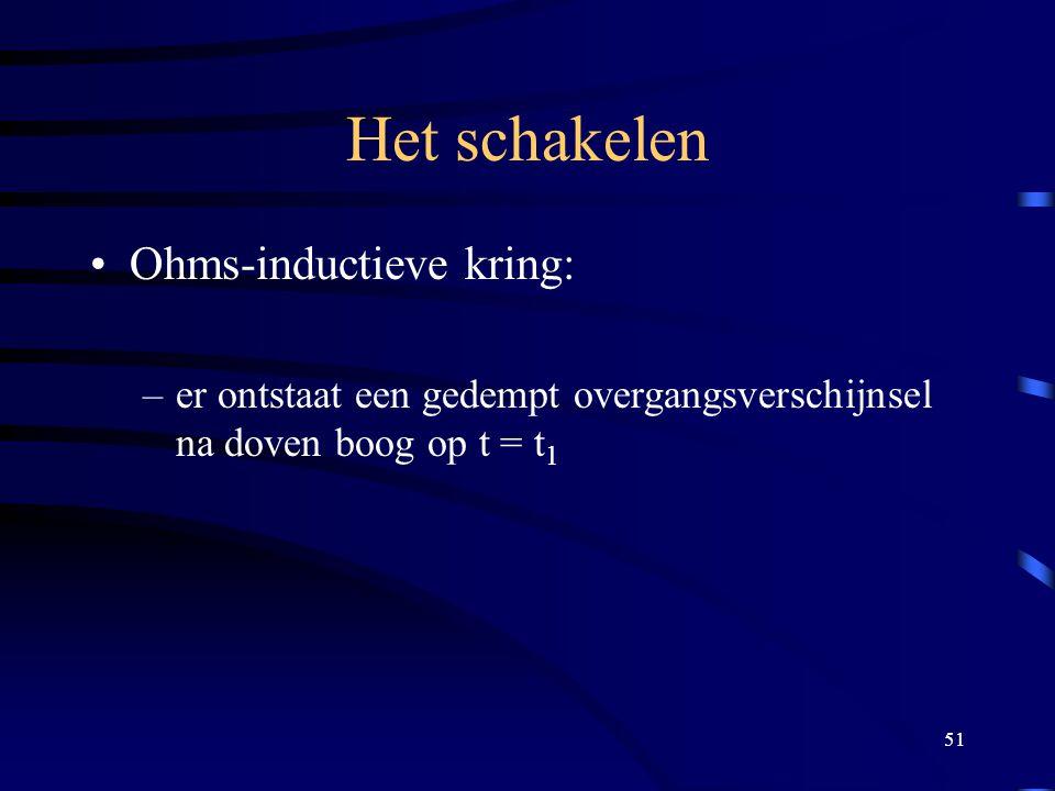 51 Het schakelen Ohms-inductieve kring: –er ontstaat een gedempt overgangsverschijnsel na doven boog op t = t 1