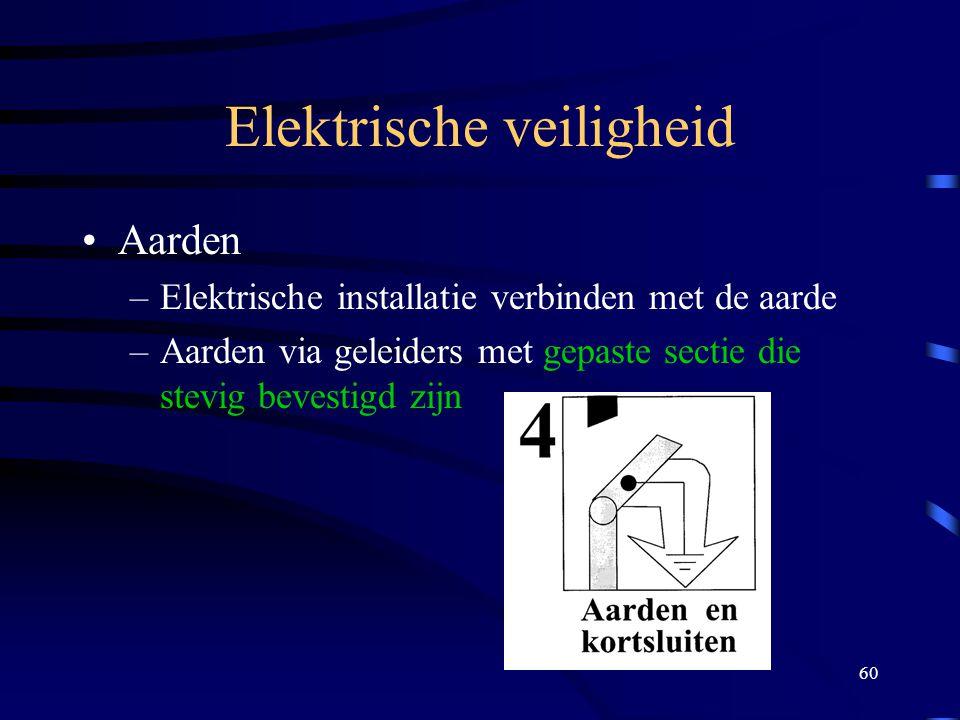 60 Elektrische veiligheid Aarden –Elektrische installatie verbinden met de aarde –Aarden via geleiders met gepaste sectie die stevig bevestigd zijn