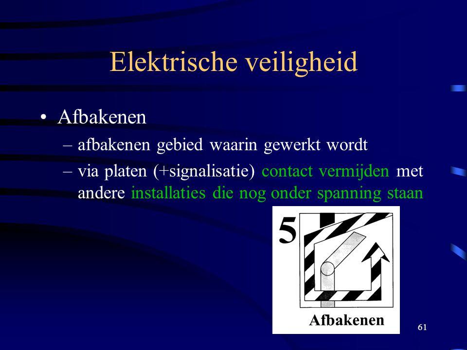61 Elektrische veiligheid Afbakenen –afbakenen gebied waarin gewerkt wordt –via platen (+signalisatie) contact vermijden met andere installaties die n