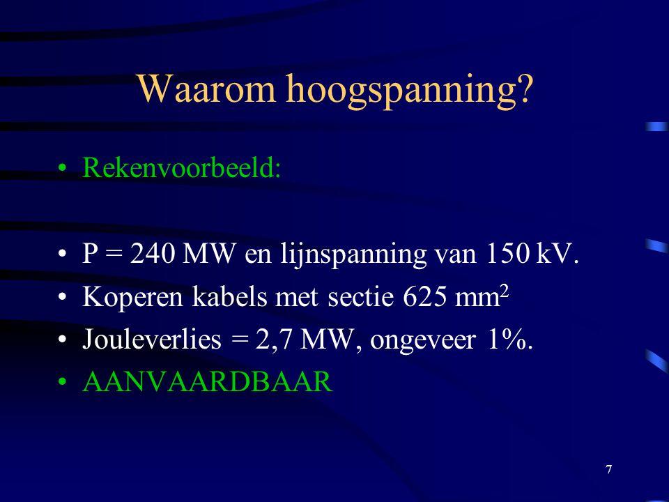 7 Waarom hoogspanning? Rekenvoorbeeld: P = 240 MW en lijnspanning van 150 kV. Koperen kabels met sectie 625 mm 2 Jouleverlies = 2,7 MW, ongeveer 1%. A