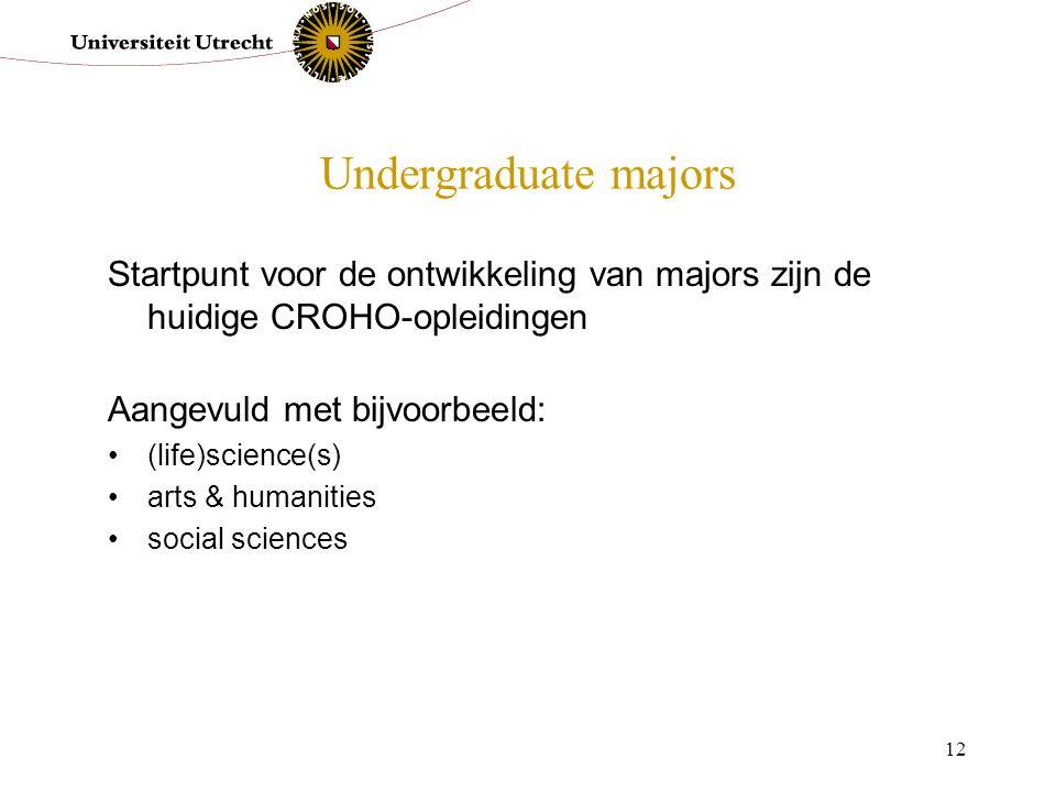 12 Undergraduate majors Startpunt voor de ontwikkeling van majors zijn de huidige CROHO-opleidingen Aangevuld met bijvoorbeeld: (life)science(s) arts